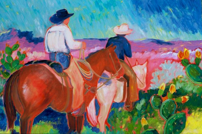 two cowboys riding through the prickly pear patch